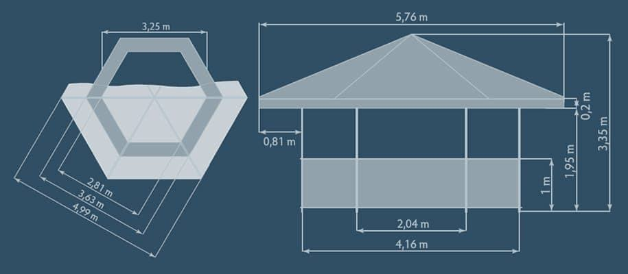 Tents & Marquees – Hexagonal Pavilion - Graphic of Hexagonal Pavilion dimensions from top down