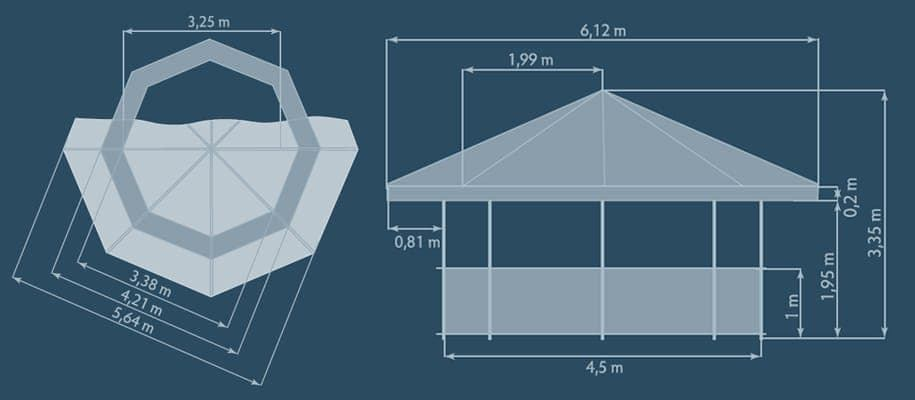 Tents & Marquees – Octagonal Pavilion - Graphic of Octagonal Pavilion dimensions from top down