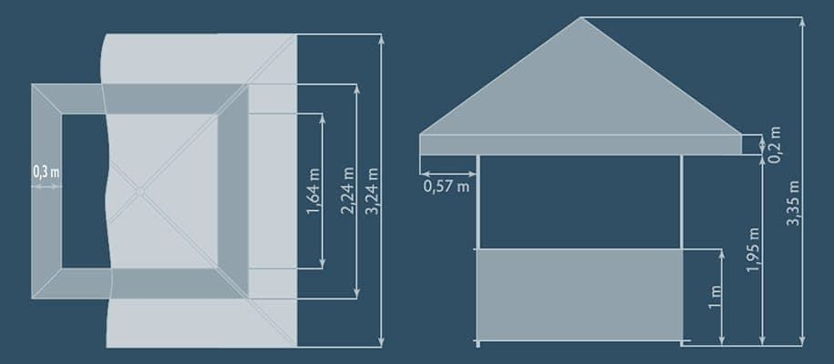 Graphic of Square Pavilion dimensions from top down