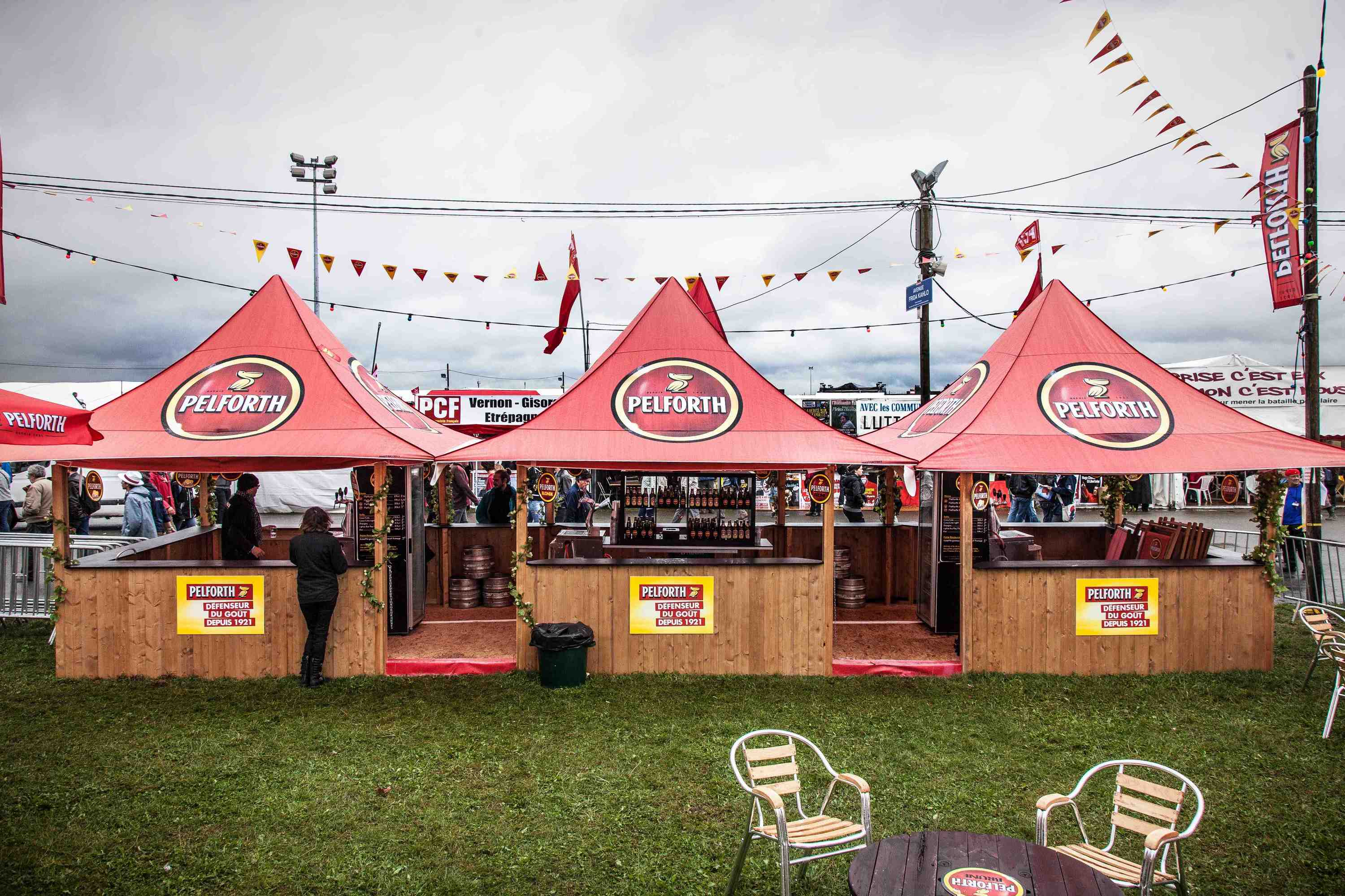 <p>Tent – Shop – Pelforth Bar</p> <p>3m x 3m Shop 4 Awnings (4.3m x 4.3m)</p> <p>Brilliant event bar produced for Pelforth Beer. Tents joined together with raingutters and counter system.</p>