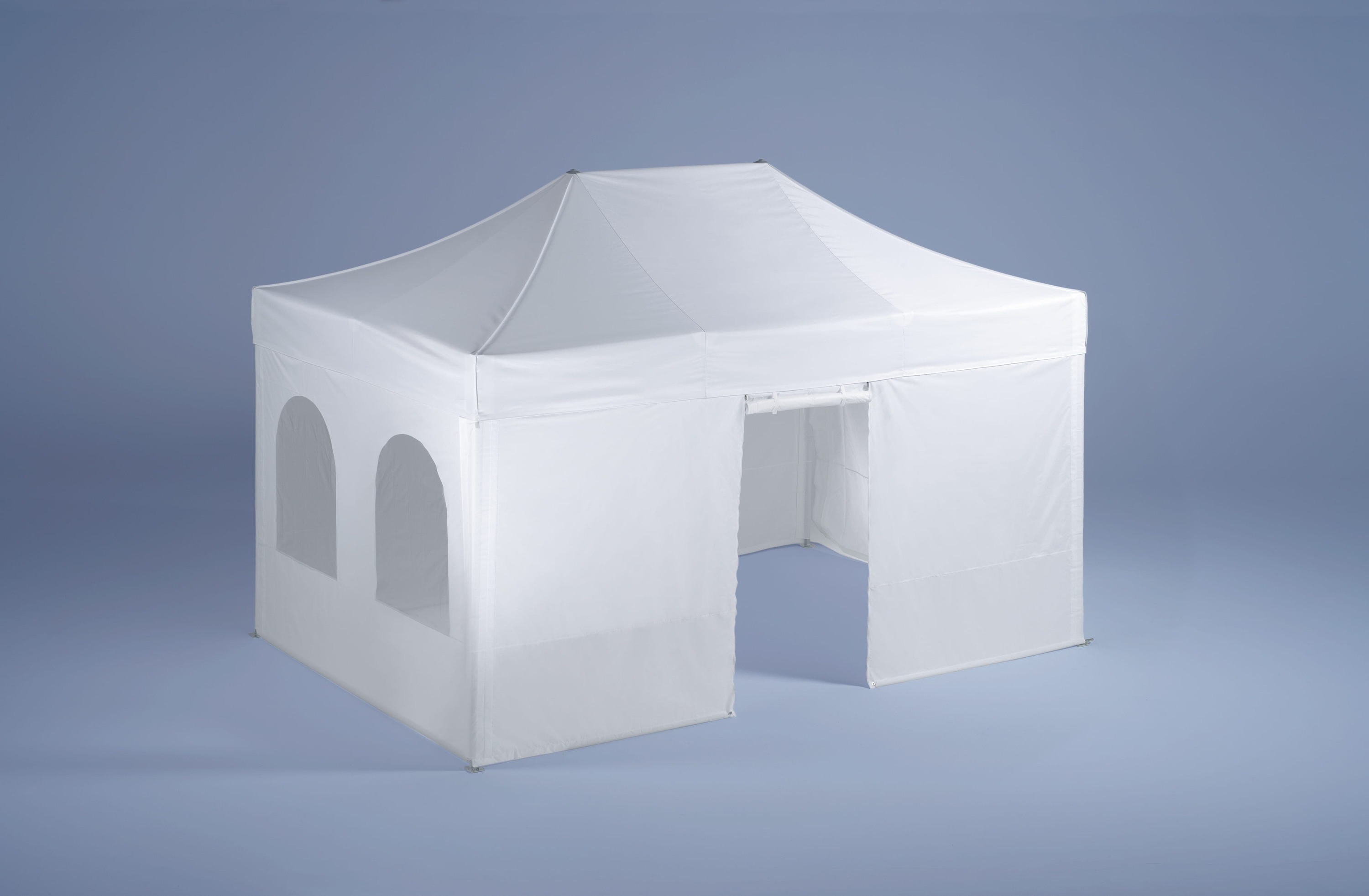 <p>Accessories – Walls</p> <p>Half and Full Height</p> <p>The walls are made of polyester and are fastened using Velcro fasteners. Promotional information can be printed on their entire surface. The walls can be full providing more printing surface, or they can include elegant cathedral windows. They can include a door, closed with a zipper, from inside and out, and can also be rolled up and fastened using Velcro fasteners. The wall can be half-height secured in place with a crossbar.</p>