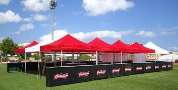 <p>Tent &#8211; Classic &#8211; Budweiser Bar</p> <p>3m x 3m</p> <p>Great looking outdoor bar for Budweiser with multiple tents joined together with raingutters and universal clamps.</p>
