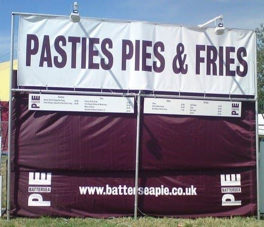 <p>Tent &#8211; Classic &#8211; Battersea Pie</p> <p>5m x 5m</p> <p>One of London&#8217;s coolest young food brands chose In Your Corner for their printed catering tent.</p> <p>Catch them at a festival near you.</p>