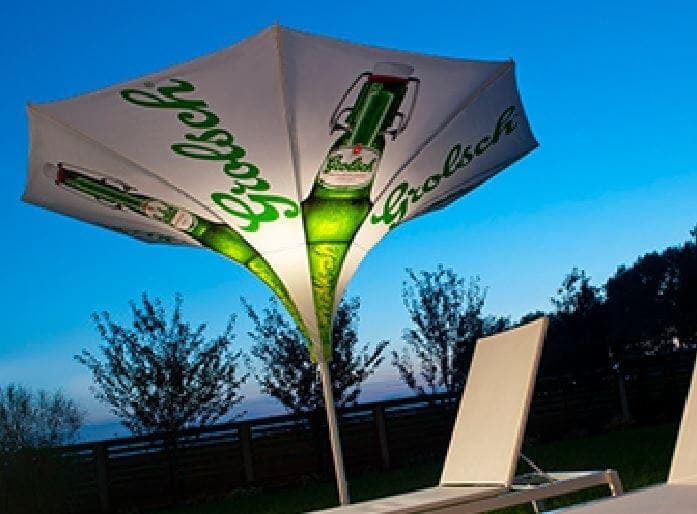 <p>Parasol – Ibiza</p> <p>Crank handle opening system. The 100% polyester water repellent UV resistant cover is available for digital printing.</p>