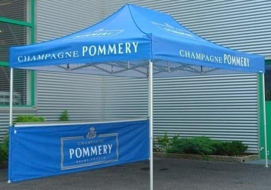 <p>Tent – Classic – Pommery</p> <p>4.5m x 3m</p> <p>Pommery Champagnes have produced a Classic Tent branded in their colours and logos on their roof and half-back wall.</p>