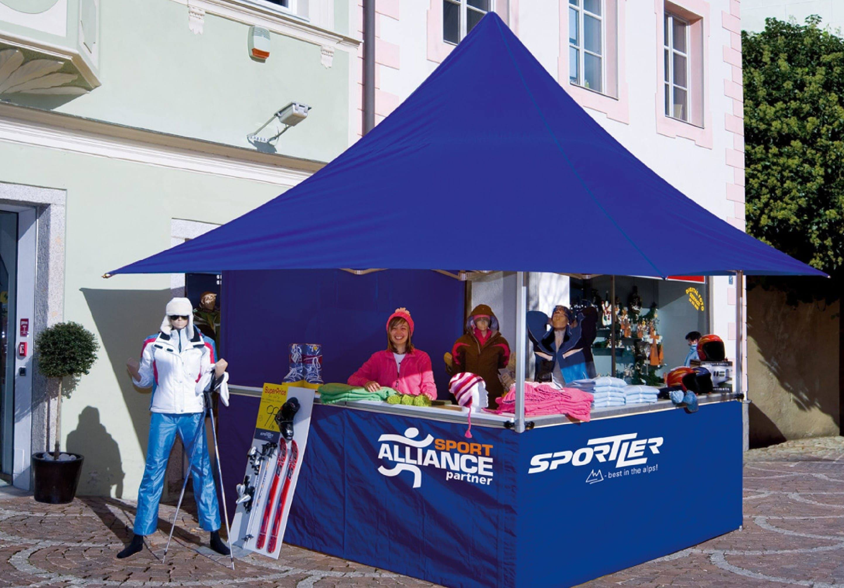 <p>Tent – Shop – Sport Alliance</p> <p>3m x 3m Shop 4 Awnings (4.3m x 4.3m)</p>