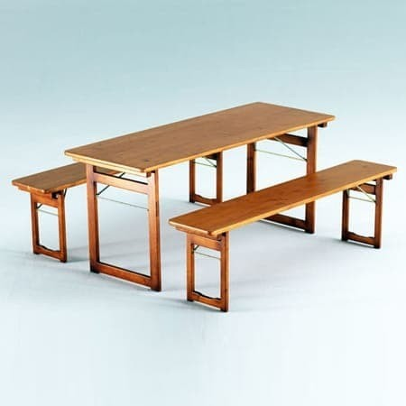 <p>Table &amp; Bench Sets &#8211; Rustic</p> <p>Table size: 1800mm x 670mm. Bench size: 1800mm x 330mm.</p> <p>Beautiful Table and Bench Set with base made of wood.</p>