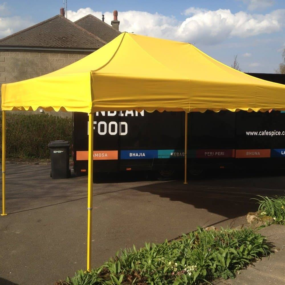 <p>Tent – Royal</p> <p>4.5m x 3m</p> <p>Bright yellow are the corporate colours of this company and this satisfied their immediate requirements. In the future, they can expand their accessories with side or back walls, printed or plain.</p>