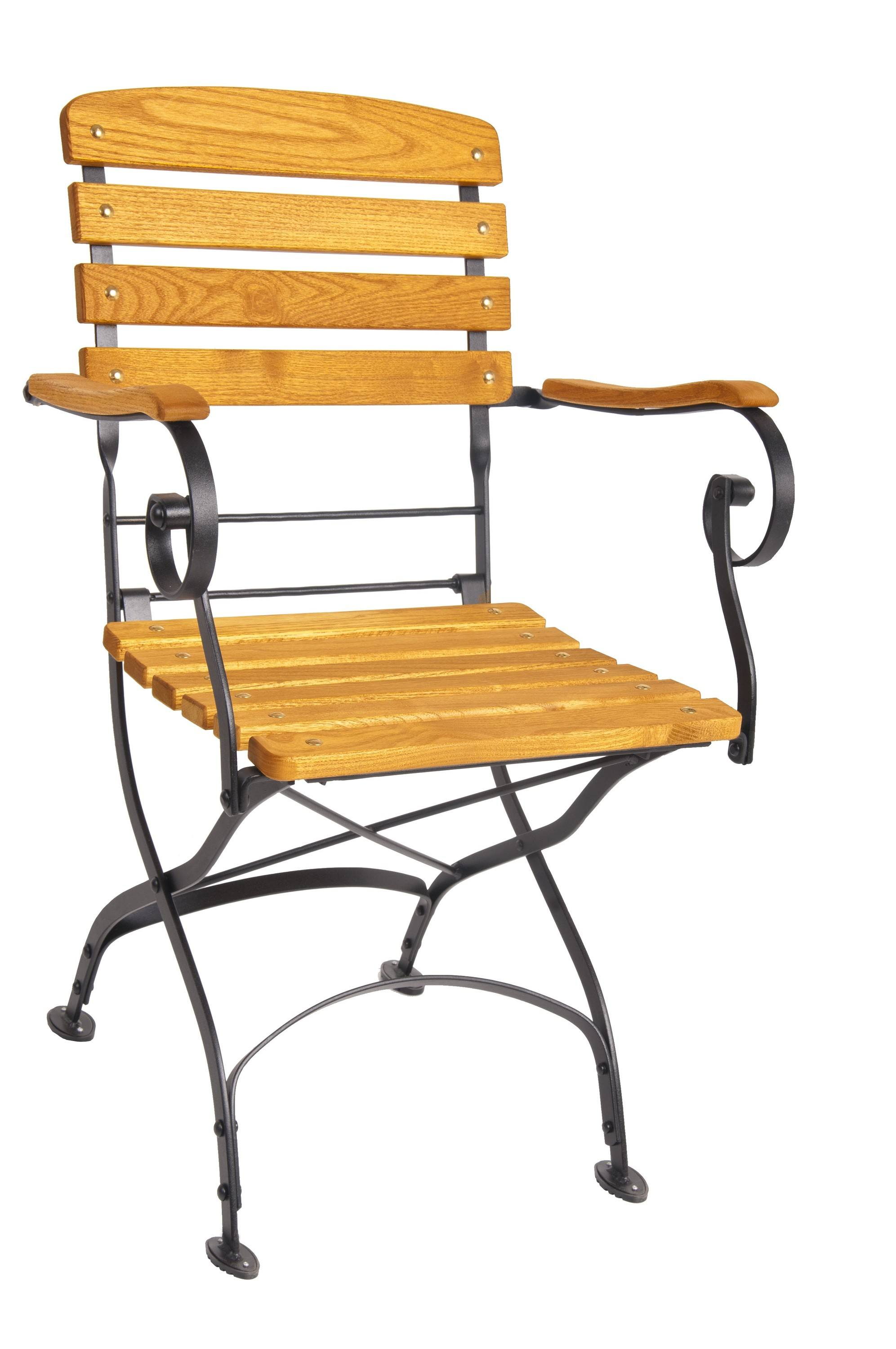 <p>Outdoor Furniture – Metal & Wooden Dining Collection – Classico Armchair.</p> <p> </p> <p>Classico Furniture – Armchair with light coloured hardwood seat armrests and backrest with black hand-forged frame.</p> <p> </p> <p>Ideally suited for either indoor or outdoor relaxed dining location or more intimate café bistro al fresco area or for events requiring easy to fold and store furniture.</p>