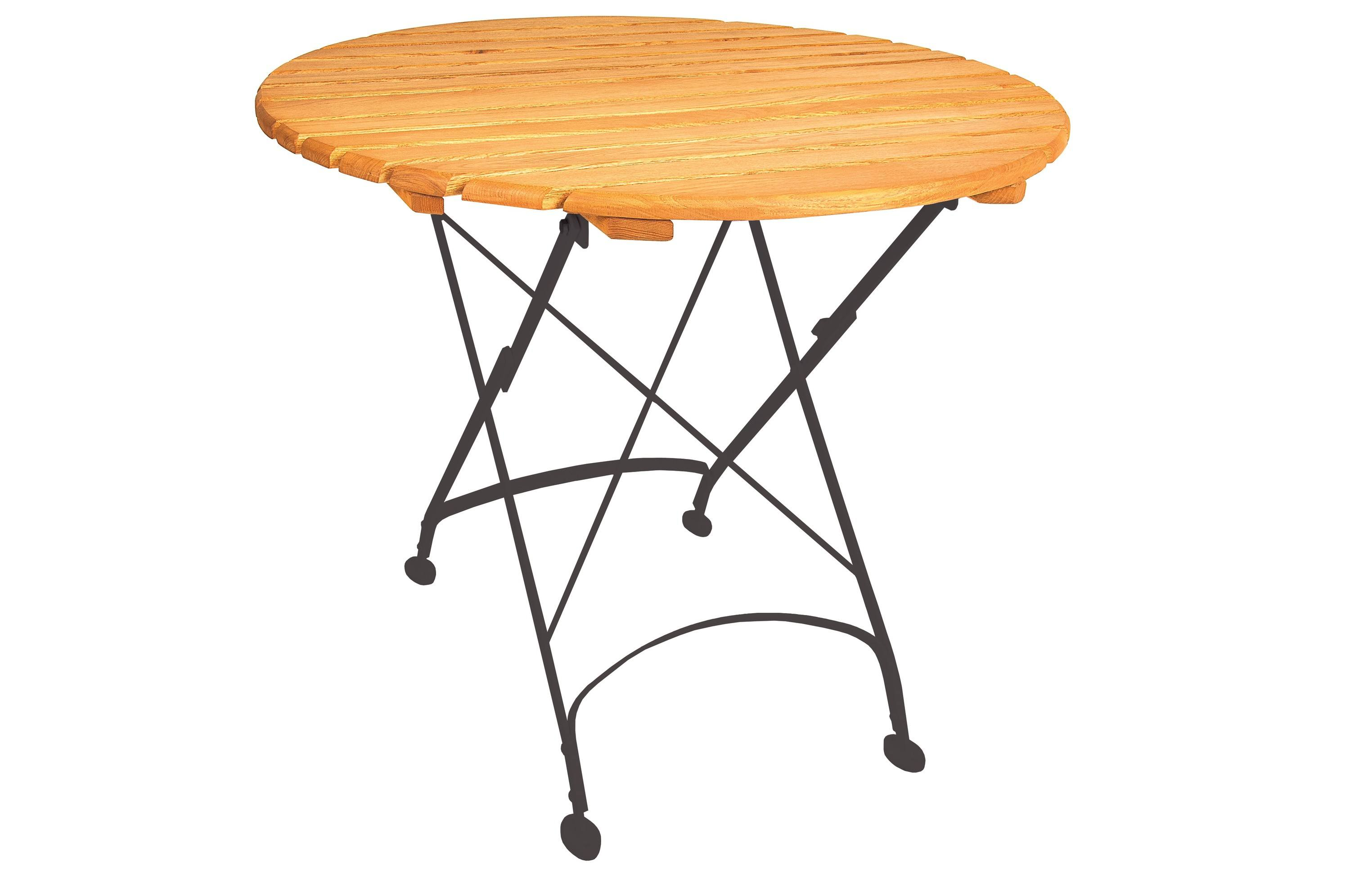 <p>Outdoor Furniture – Metal & Wooden Dining Collection – Classico Round Table.</p> <p> </p> <p>Classico Furniture round table with light coloured slatted hardwood framed tabletop black hand-forged frame and legs.</p> <p> </p> <p>Ideally suited for either indoor or outdoor relaxed dining location or more intimate café bistro al fresco area or for events requiring easy to fold and store furniture.</p>