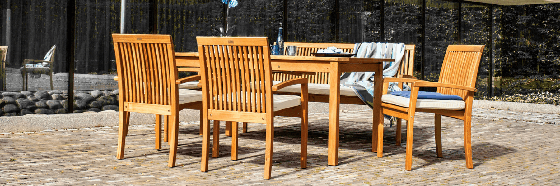 <p>Outdoor Furniture – Wooden Dining Collection Fuera.</p> <p> </p> <p>Fuera Furniture – Stylish elegant Hardwearing Table and Armchairs.</p> <p> </p> <p>Equally at home within an exquisite restaurant setting as it is on a garden patio or hotel terrace. Chairs are easy to stack and store away</p>