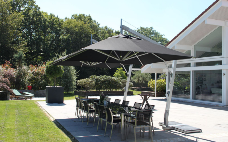 <p>Parasols – Cantilever Ibiza – Commercial Restaurant Terrace Shade Cover</p> <p></p> <p>Stylish and elegant commercial parasol offering the ideal shade solution providing comfort and protection from the environmental conditions be it blazing hot sunshine or pouring rain.</p> <p></p> <p>Popular because of the side pole structure within the hospitality industry and associated sectors, but also the parasol of choice of commercial and residential customers who demand high quality and free floor space</p>