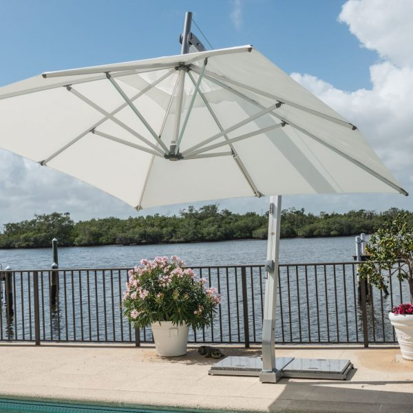 <p>Parasols – Cantilever Ibiza – Commercial Umbrella Shade Cover – Hotel Pool Terrace</p> <p></p> <p>Elegant Stylish Umbrellas offering the ideal shade solution, providing comfort and protection from the environmental conditions be it blazing hot sunshine or rain.</p> <p></p> <p>Popular not just within the hospitality industry and associated sectors, but also the parasol of choice of commercial and residential customers who demand high quality and style</p> <p></p> <p>Situated on a hotel pool terrace providing maximum shade cover whilst saving floor space with the pole and base to the side</p>