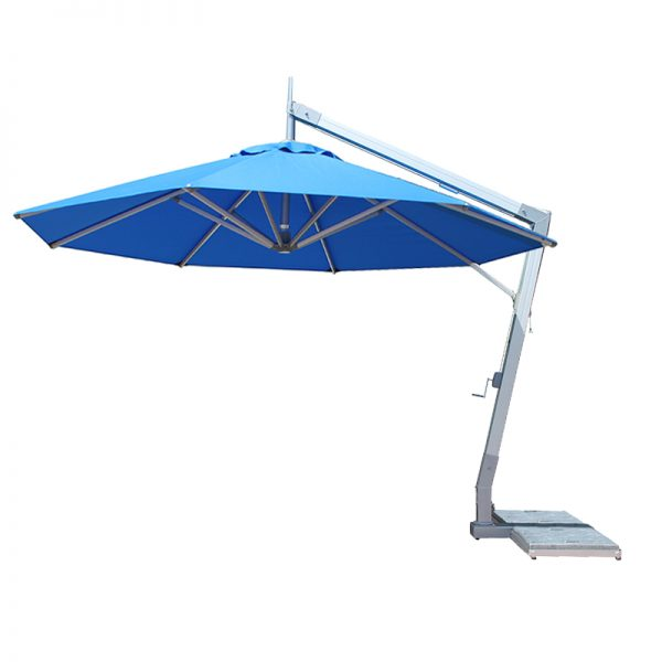 <p>Parasols – Cantilever-Ibiza – Round – Blue</p> <p></p> <p>Elegant Stylish Umbrellas offering the ideal shade solution, providing comfort and protection from the environmental conditions be it blazing hot sunshine or rain.</p> <p></p> <p>Popular not just within the hospitality industry and associated sectors, but also the parasol of choice of commercial and residential customers who demand high quality and style</p> <p></p> <p>Situated on a hotel pool terrace providing maximum shade cover whilst saving floor space with the pole and base to the side</p>