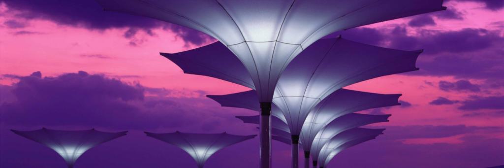 Parasols – Tulip – Stylish Unique Umbrella Shade – Hanging Flower or trumpet shaped umbrella & atmospheric Light