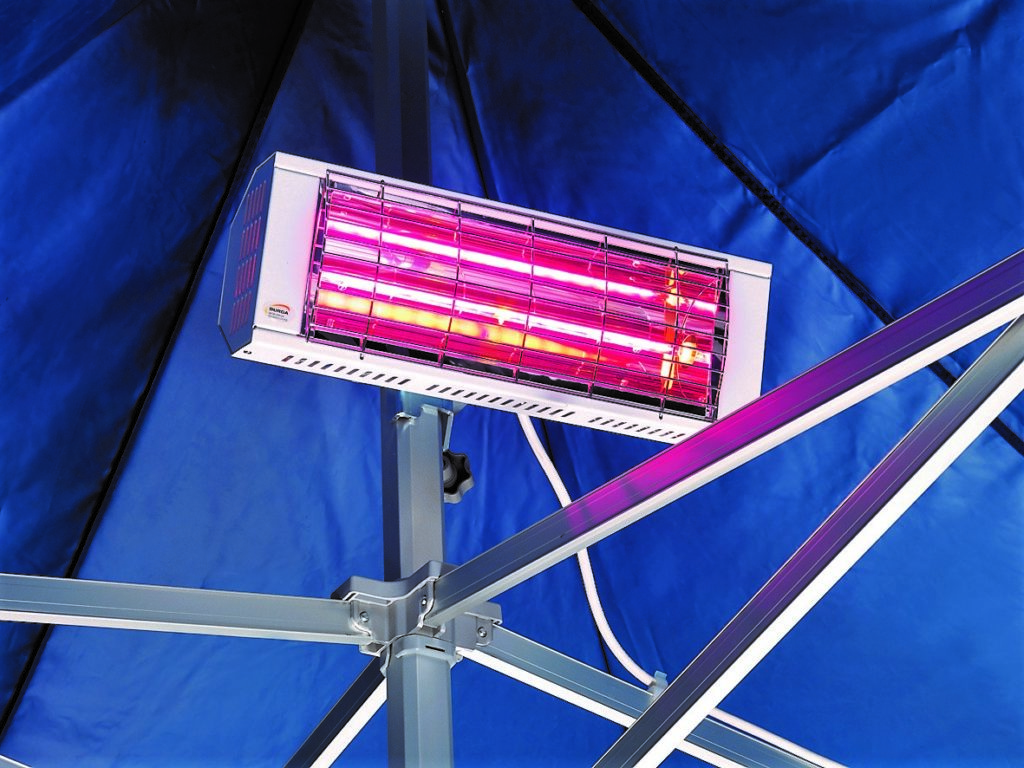 Heater fitted to Folding Tent frame with universal clips securing the cables