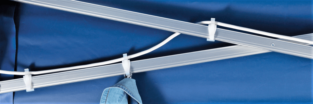 Folding Tent Accessories – Universal Clip for hanging clothes on or securing wires from heaters etc to the frame
