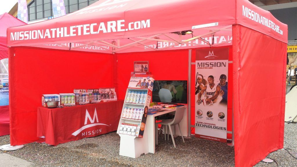 Red Mission Athletic branded Classic Folding Tent Promotional stand for displaying information when at race events etc