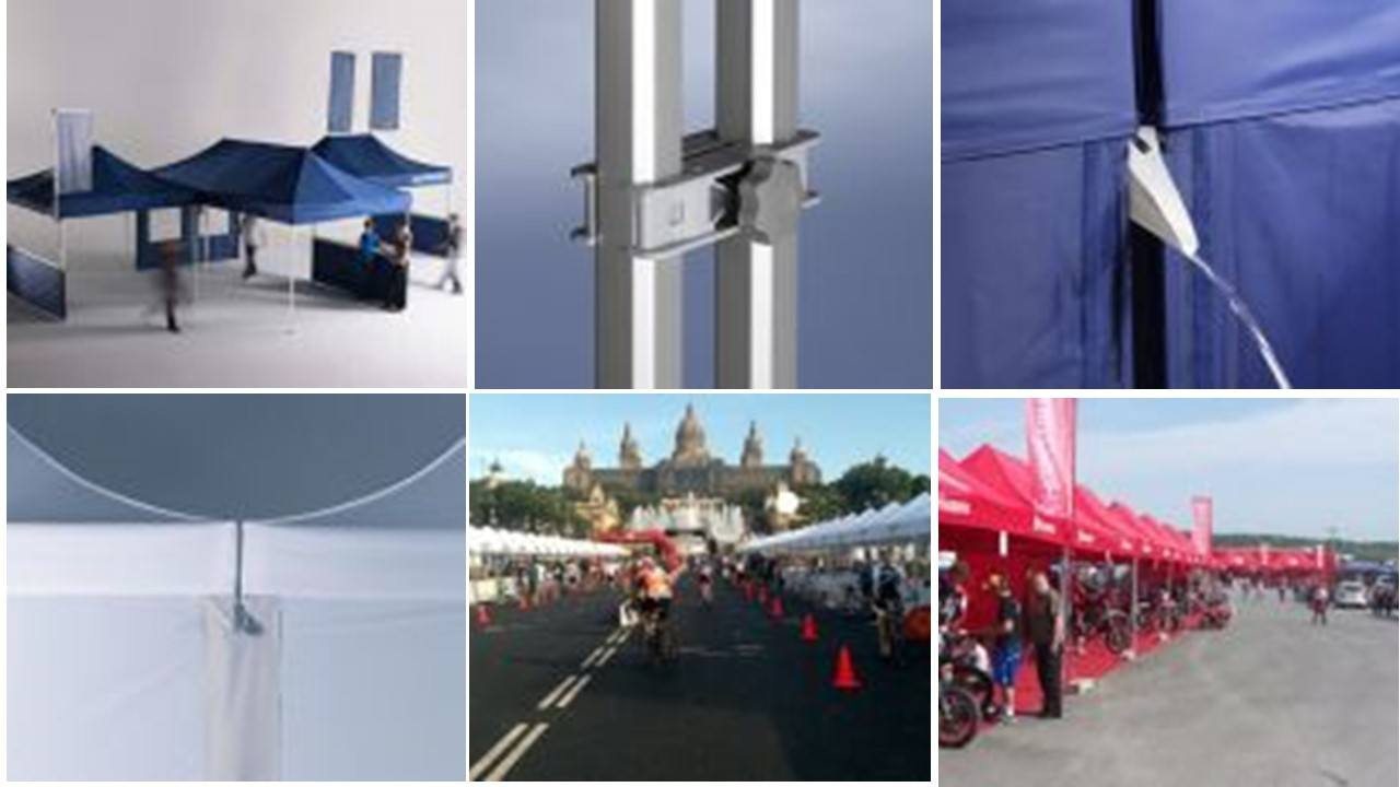 Set of images showing folding tent modular design possibilities including accessories