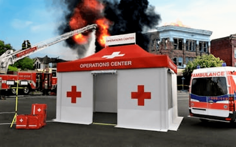 <p>Tents & Marquees – Folding Tents – Rescue Tent</p> <p> </p> <p>Special version of our Folding Tent, perfect as Command Centre for rescue missions providing weather and privacy protection in sensitive situations such as rescue operations, firefighting missions, police operations, as crime scene tents, medical tents during natural disasters such as earthquakes, tsunamis, triage tents outside hospitals and medical centres during pandemics such as COVID-19 etc.</p> <p> </p> <p>Includes special side walls with integrated doors and windows, insect screen, night closures and anti-slip floor.</p>