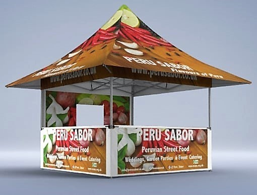 Custom branded shop folding tent with half height side walls and counters with 4 awnings