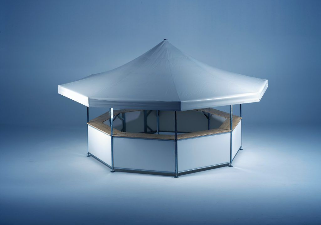 Studio image of 8-sided Pavilion set up with no branding – roof and base panels are plain white