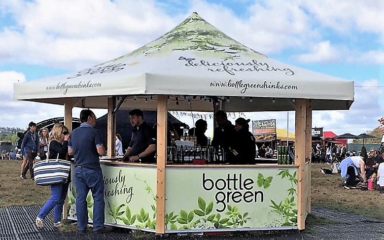 <p>Event, Mobile &amp; Stadia Bars &#8211; Tents &amp; Marquees &#8211; Hexagonal Pavilion</p> <p>&nbsp;</p> <p>Outdoor Festival Bar – Bottle Green and Merrydown Bar &#8211; unique branding &#8211; 50% for each brand.</p> <p>&nbsp;</p> <p>Hexagonal Pavilion is also ideal for serving Drinks, Food and can be used as a retail sales and promotion stand for selling merchandise at music concerts</p>