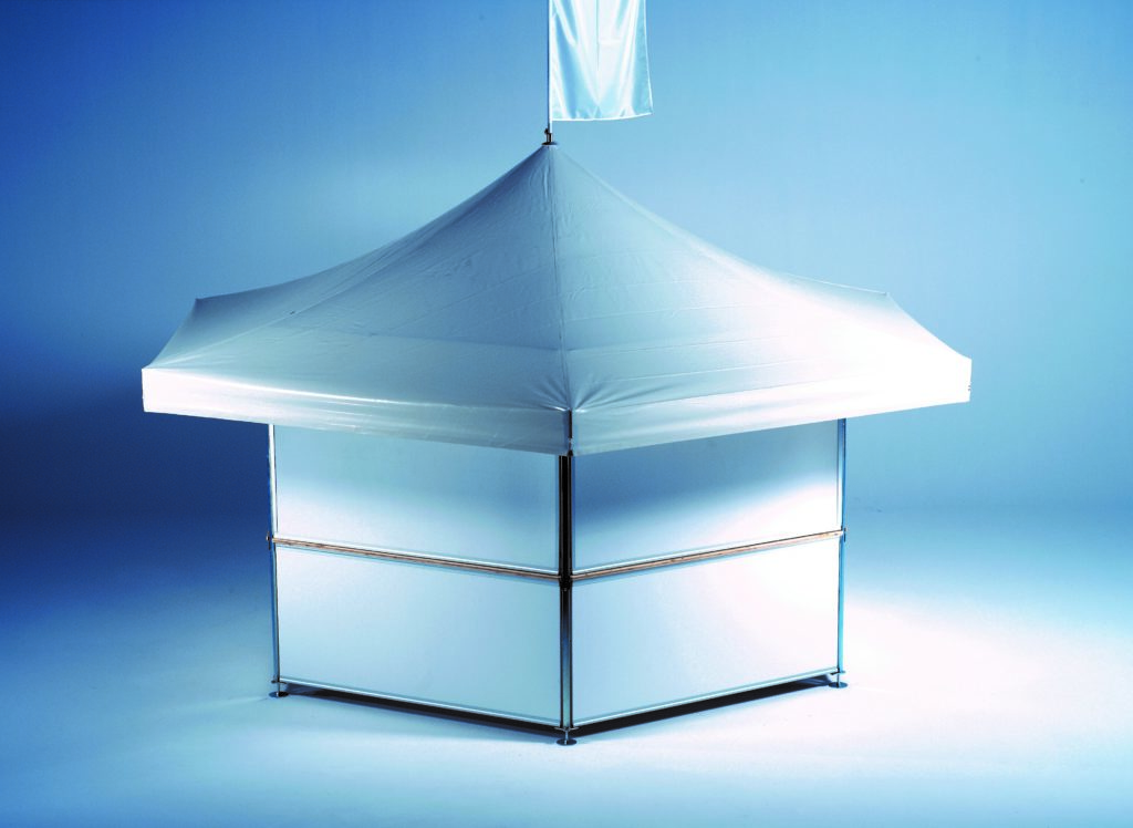 Studio image of 6-sided Pavilion set up with no branding – roof and base panels are plain white includes night panels and roof flag pavilions accessories
