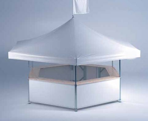 <p>Event, Mobile & Stadia Bars – Tents & Marquees – Hexagonal Pavilion</p> <p> </p> <p>Sample unbranded Hexagonal Pavilion set up – roof colour options are 10 standard colours with other colours by request.</p> <p> </p> <p>Both roof and base panels can be printed to match your corporate identity.</p> <p> </p> <p>Roof flags can be added too.</p>