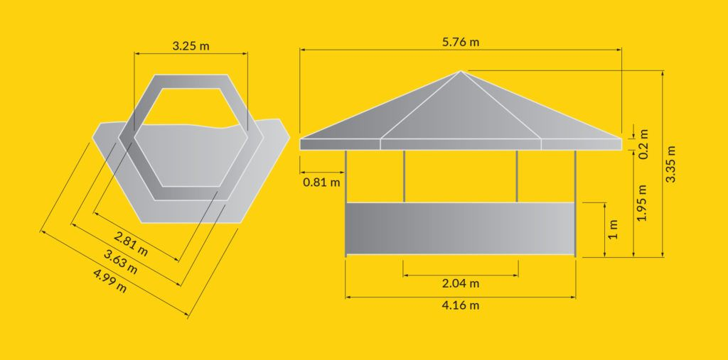 Tents & Marquees – Hexagonal Pavilion - Illustration of Hexagonal Pavilion dimensions from top down