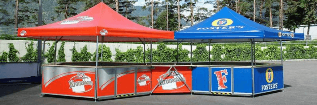 2 x 6-sided kiosk for an outdoor event bar with joining kit to create one through bar