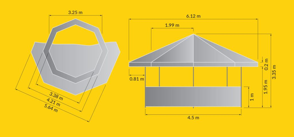 Tents & Marquees – Octagonal Pavilion - Illustration of Octagonal Pavilion dimensions from top down