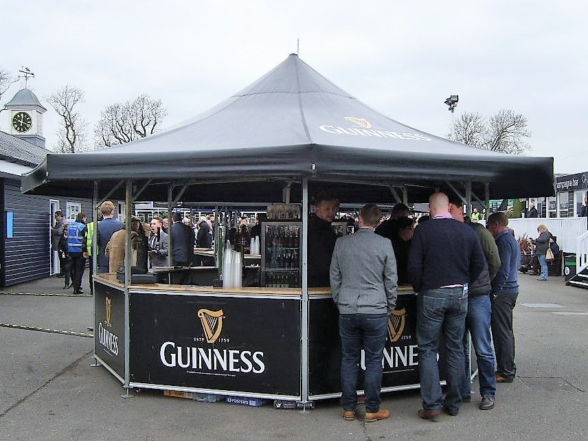 <p>Event, Mobile &amp; Stadia Bars &#8211; Tents &amp; Marquees &#8211; Octagonal Pavilion</p> <p>&nbsp;</p> <p>Guinness Outdoor Racecourse Bar</p> <p>&nbsp;</p> <p>Full Branding of Roof and Base Panels</p>