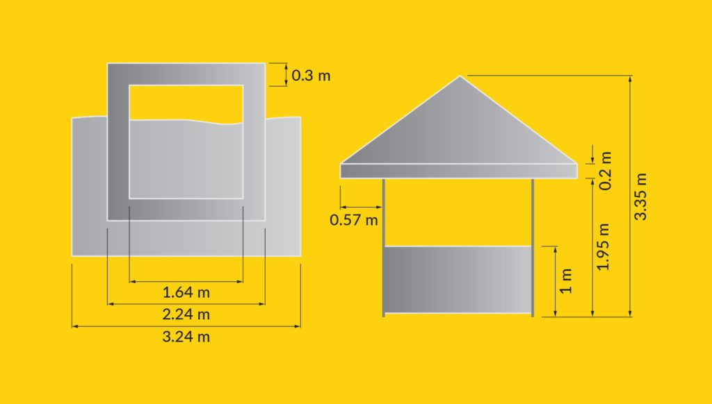 Illustration of Square Pavilion dimensions from top down