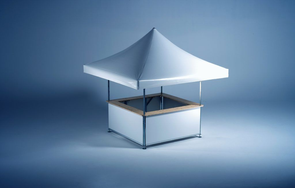4-sided Square Pavilion studio image fully set up with no branding. Roof and base panels are plain white.