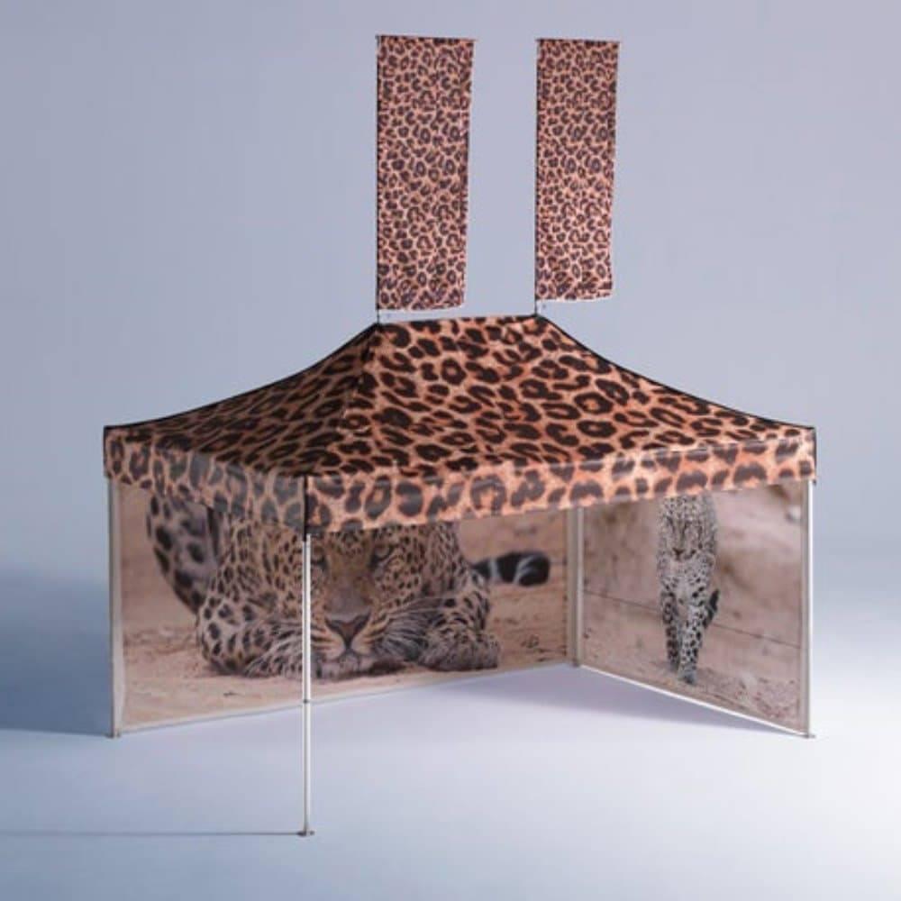 <p>Tent – Classic – Leopard Print</p> <p>4.5m x 3m</p> <p>Brilliant example of a printed gazebo.</p>