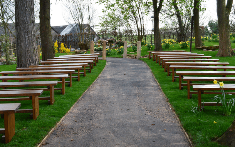 <p>Bespoke Products – Furniture – Wedding Benches.</p> <p> </p> <p>Solid sturdy wooden benches designed and built to client specification including dimensions, wood finish and colour.  Ideal for use within a woodland wedding venue setting</p>
