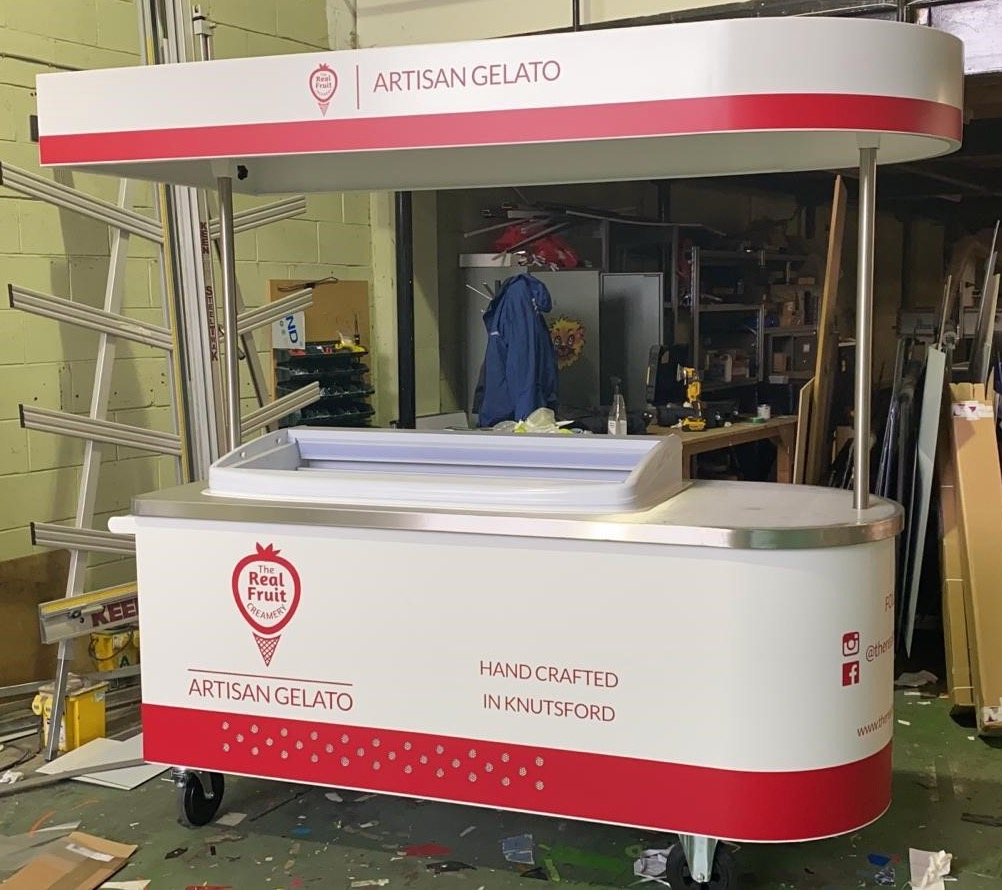 <p>Bespoke Products – Mobile Carts – Ice Cream Carts – Custom Built – Real Fruit Creamery</p> <p></p> <p>Stylish, eloquent & stunning tailor-made design Ice Cream cart in the workshop being prepared for despatch</p> <p></p> <p>Designed to meet the customer needs to include scooping cabinets, freezers for ice cream tubs or whatever the customer requires to make their ice cream cart unique & exclusive to their brand</p> <p></p> <p>One example of a design. We can design and manufacture to meet customer's specific objectives</p>