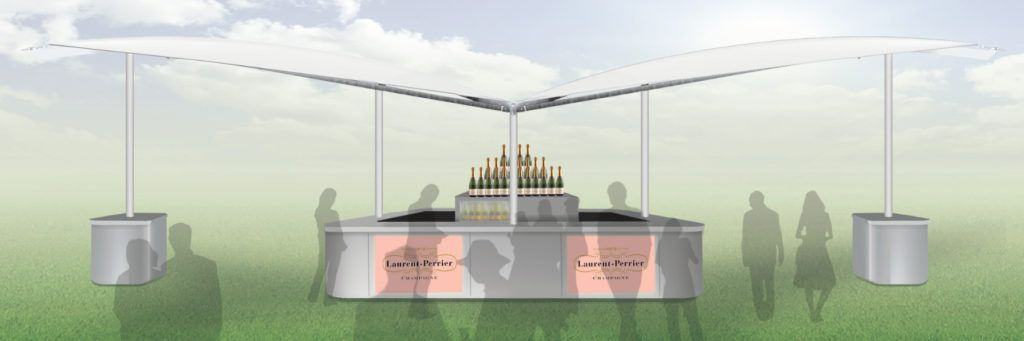 Concept designs for Laurent Perrier sail & canopy bar installed at high profile racecourse venue