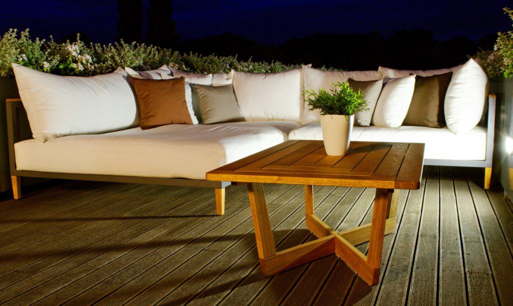 Leisure Collection Libero Premium Relaxed Lounge Set in a decked terrace setting
