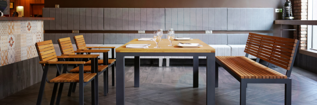 Moderno Furniture Armchair, Table & Bench Set in a restaurant setting