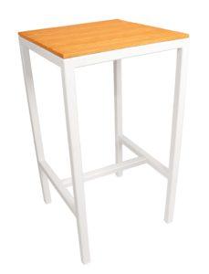 Alto High Bar Stool with white aluminium frame and hardwood slatted stool top