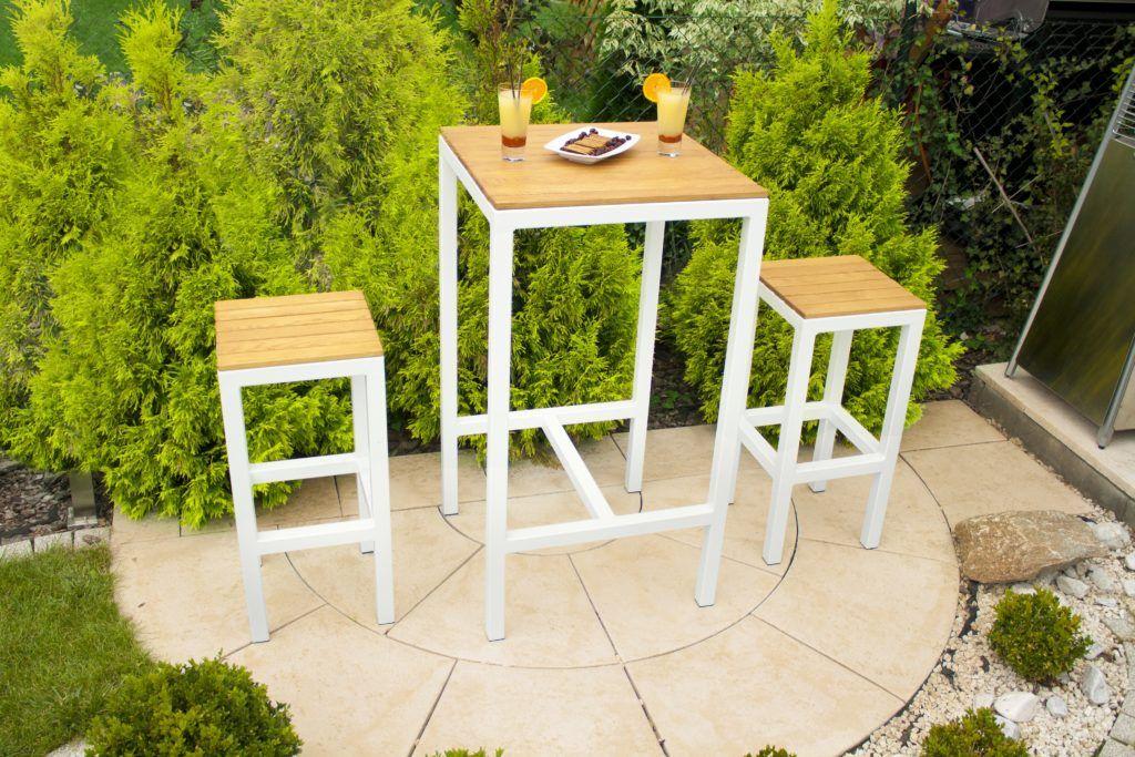 Alto High Table & Bar Stools with white aluminium frame and hardwood