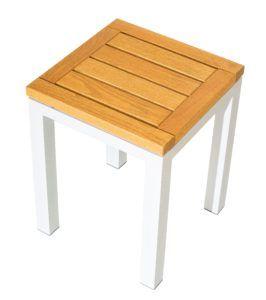 Low Bar Stool with white aluminium frame and hardwood slatted stool top