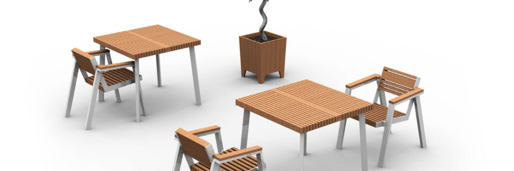 Table and Armchair with planter accessories