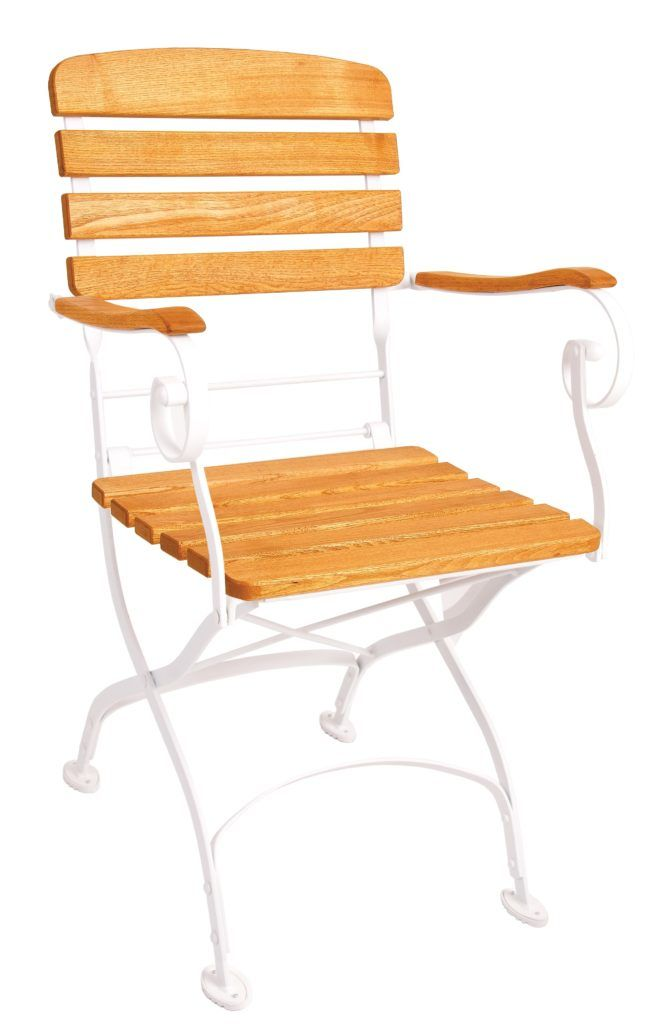 Creta Furniture armchair with honey coloured hardwood seat, armrests and backrest with gently curved metal shaped frame