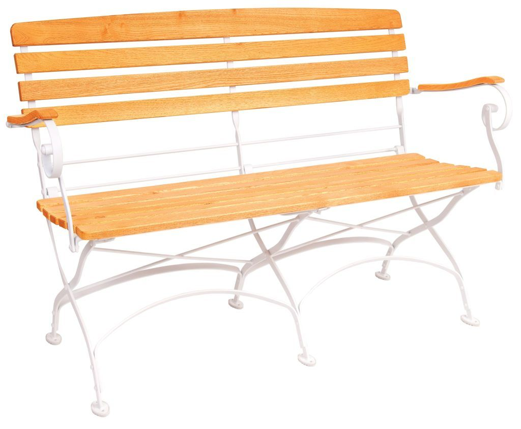 Creta Furniture Bench with honey coloured hardwood seat armrests and backrest with gently curved metal shaped frame