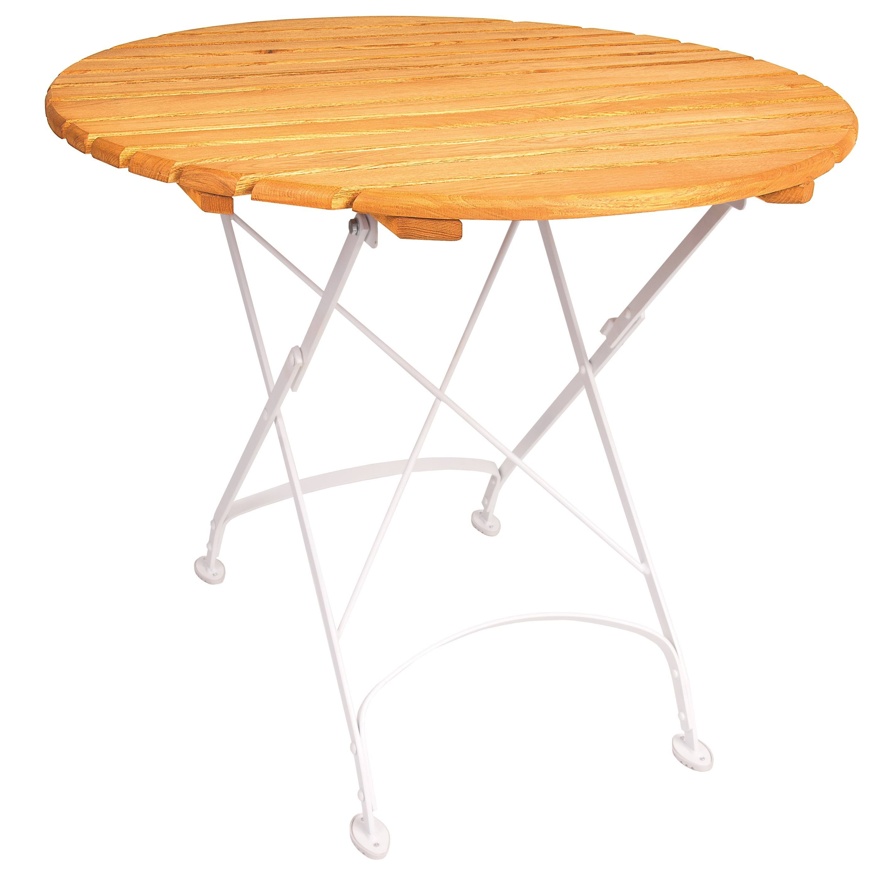 <p>Outdoor Furniture – Metal & Wooden Dining Collection – Creta Round Table.</p> <p> </p> <p>Creta Furniture round table with honey coloured hardwood tabletop with gently curved metal shaped frame</p> <p> </p> <p>Ideally suited for either indoor or outdoor relaxed dining location in pubs or restaurants or more intimate café bistro al fresco area or for events requiring easy to fold and store furniture</p>