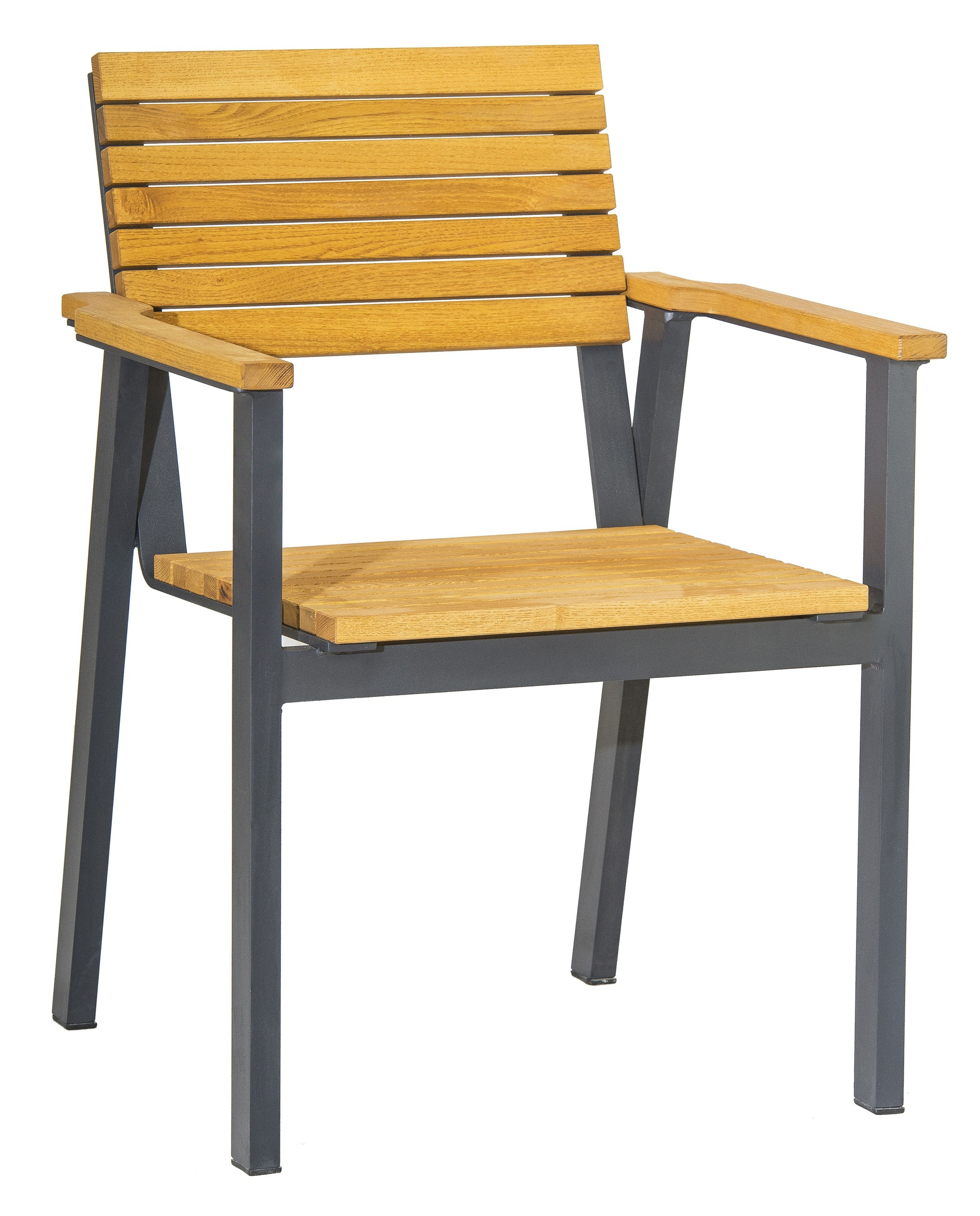 <p>Outdoor Furniture – Metal & Wooden Dining Collection – Moderno Armchair.</p> <p> </p> <p>Moderno Furniture – Armchair with hardwood seat armrests and backrest with narrow strips and symmetrical design.</p> <p> </p> <p>Ideally suited for either indoor or outdoor relaxed dining location in pubs or restaurants or more intimate café bistro al fresco area</p>