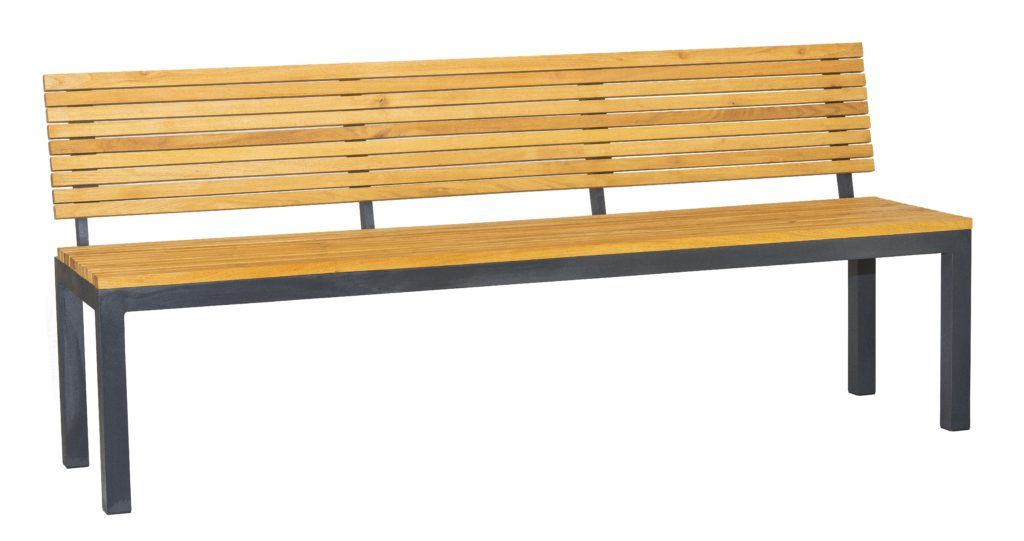 Moderno Furniture - Bench with hardwood seat armrests and backrest with narrow strips and symmetrical design